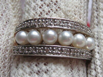 Qvc 9Ct Yellow Gold Cultured Pearl & Diamond Ring  With Full British Hallmarks