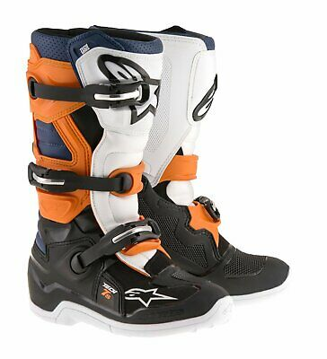 NEW Alpinestars Tech 7S Youth Boots Black Orange White from Moto Heaven