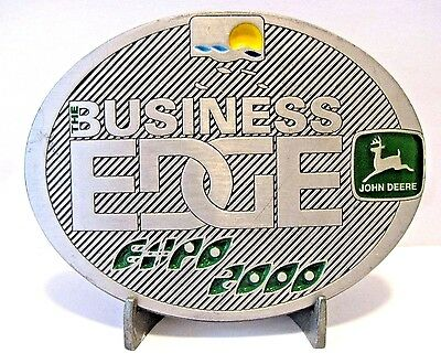 John Deere Melbourne Expo 2000 Business Edge PEWTER Belt Buckle Lt Ed MASTER/150