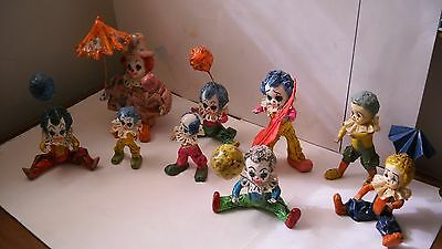 Lot Of 9 Vintage Paper Mache Child Clowns Made In Mexico Estate Collection