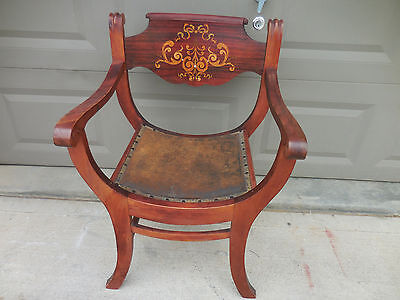 Antique Gothic Medieval Throne Chair 1800's Curved Seat Savonarola Pearl Inlay