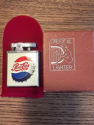 Vintage Pepsi Cola Musical Lighter 1951 Music Works! Original Box Velvet Bag