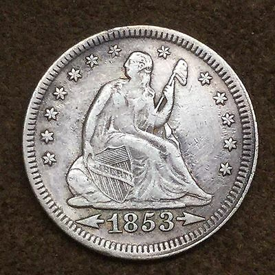 1853 Silver Seated Liberty Quarter XF Details with Arrows/Rays - Polished