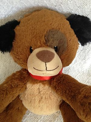 "First & Main Cutesys Puppy Dog Plush Brown Spot Red Collar Stuffed Toy 8"" V1864"