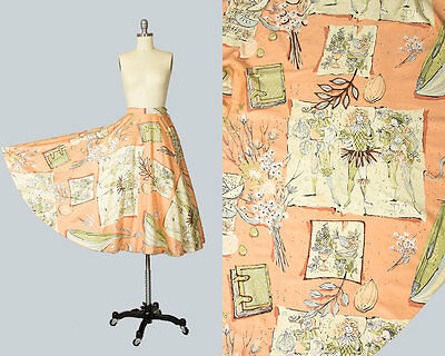 Vintage 1950s Circle Skirt 50s Novelty Print Cotton Floral Books People Peach
