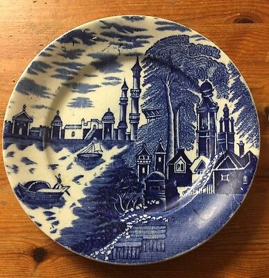 """Very Old Blue And White Plate ~ 8.5"""""""