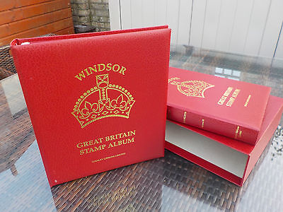 BRAND NEW Windsor Elite 'Booklet' Stamp Binders/Albums Vol 3 and 4 red buckram
