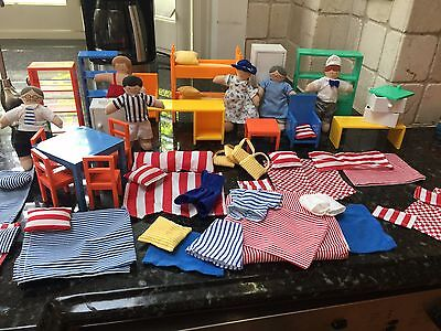 Ikea 61 Piece Dollhouse Furniture Lot With Six Dolls, Pillows, Rugs, Beds Sheets