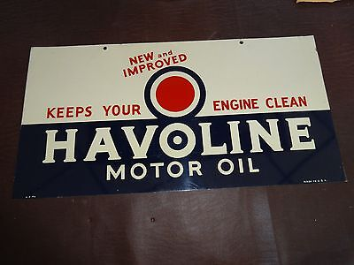 Original Rare 1946 Havoline Texaco Motor Oil Gas Station Dst Sign Not Porcelain