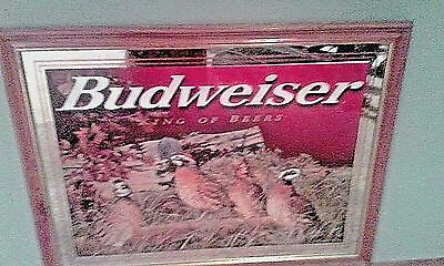 2 Budweiser Rare Beer Mirrors The Pointer and The Bobwhite Quail, Elk Laying