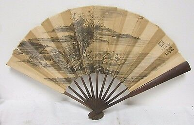 Antique Chinese Wood and Paper Fan With Man In Boat Playing Flute Signed