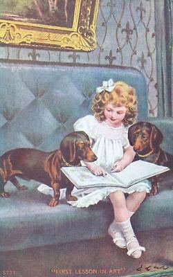 Old Postcard PC Girl & 2 Dachshund Dogs 1st Lesson in Art USA c1908