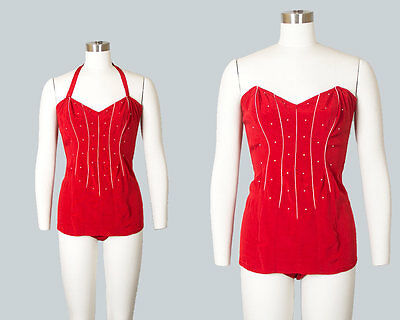 Vintage 1950s Swimsuit 50s Red Embroidered Halter One Piece Pin Up Bathing Suit