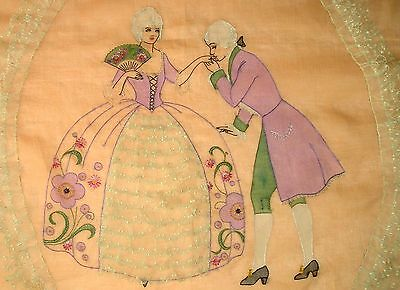 Antique BUCILLA 1926 ORGANDY Bedspread~Hand Stitched~Embroidered~Tulle Lace Trim