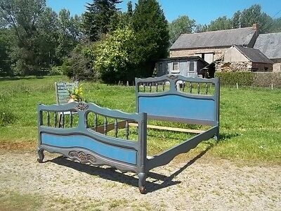 French Fabulous Painted Provincial Louis Xv Style Double Bedstead