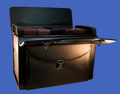 """19"""" Pilot Case Coins Catalog Briefcase Lawyer Sample Genuine Leather!"""