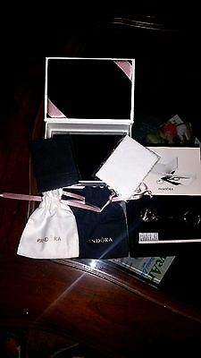 Authentic Pandora Jewelry Care Kit n Box~Bags/Pouch~Cleaning Cloths~Clasp opener
