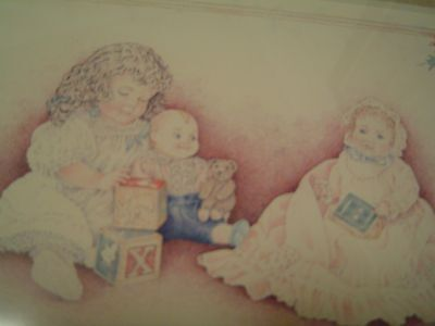 Classic 11 x 14 pink framed and matted print little girl at play with dolls