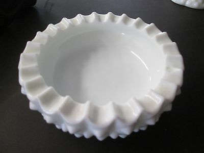Vintage Collectable Fenton Milk Glass Hobnail bowl Dish Container