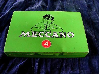 Vintage Antique Tin Can Box Meccano SET 4 Toy Accessories Nuts-Bolts-wrenches++