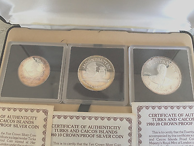 3 Coin Silver Proof Set Turks & Caicos Lord Mountbatten 1980