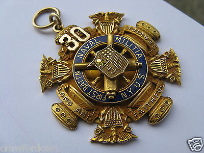 Very RARE New York 1st Battalion Naval Militia solid 10k GOLD Long Service Medal