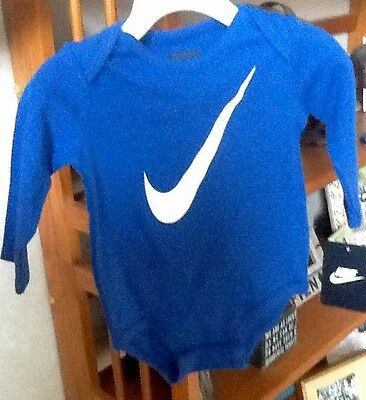 Infant Nike Swoosh 1 One Piece Cotton Royal Blue Long Sleeve 6-9 Months NWT