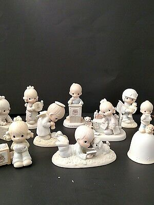 9 precious moments figurines  6 inches original boxes LOT 1980's