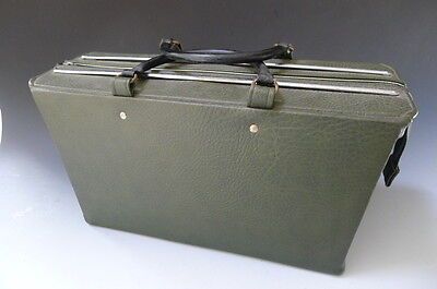 Vintage mid century Silver Cross green faux leather pram bag with hooks