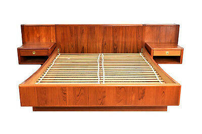 Mid Century Modern Danish Teak Queen Platform Bed Floating Nightstands by D-Scan