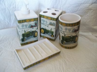 "4 piece ""John Deere"" collectable-bathroom accessories"