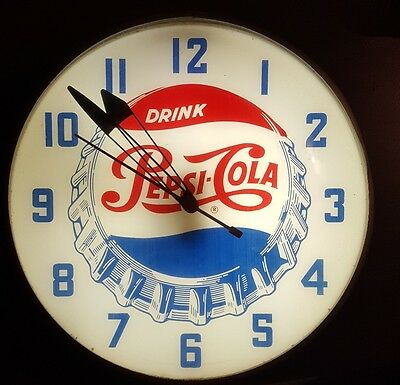 "Vintage 1950's Pepsi Lighted 15"" Round Glass Face Advertising Clock Sign."