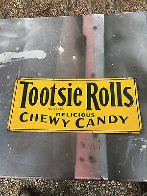 Vintage 1940s Tootsie Roll Embossed Tin Tacker Sign