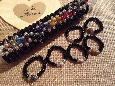 30 Fabulous unisex  glass bead rings,stretch,Assorted colours mixed sizes