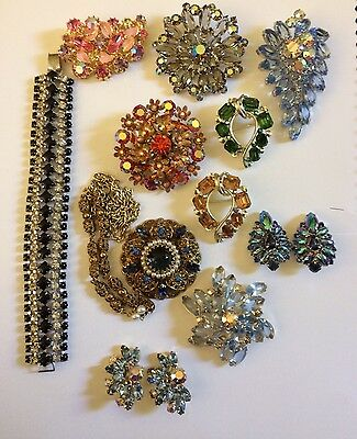 Vintage Estate Rhinestone High End Signed Brooches And More