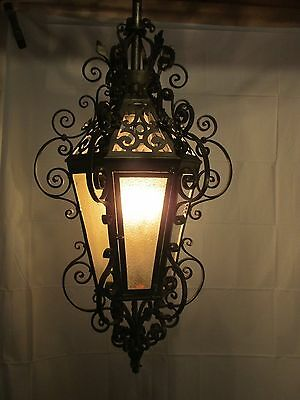 Vintage Gothic/Ornate Wrought Iron Hanging Lamp Light Chandelier Indoor/Outdoor