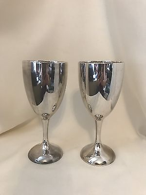 Vintage 1970's Set of 2 Silver plated International Silver Co. Water Goblets