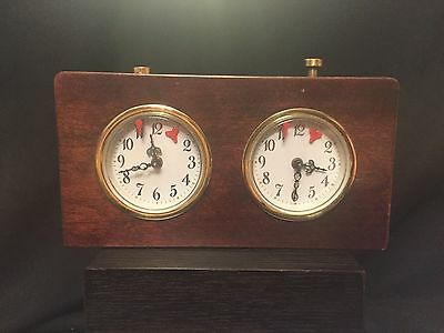 Vintage Chess Timer - Wind Up - Wood Casing