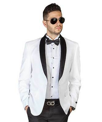 Slim Fit 1 Button White With Black Shawl Lapel Collar Tuxedo Jacket  Dinner AZAR