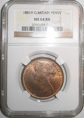 1881-H     F-108    Ngc    Ms-64 Rb     Great Britain Penny   -  Please Read
