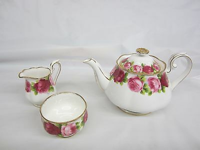 Royal Albert Old English Rose Teapot Excellent and Cream and Sugar England