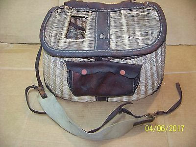 Vintage Antique Wicker & Leather Fish Creel With Pouch