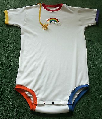 """Adult baby EMBROIDERED BODYSUIT EMBROIDERED RAINBOW 44"""""""