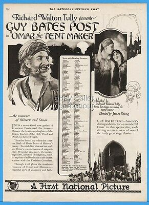 1922 First National Pictures Silent Movie Guy Bates Post Omar The Tent Maker Ad