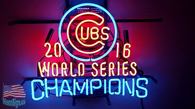 "2016 Chicago Cubs World Series Champions MLB Man Cave Neon Sign 19""x15"" From USA"