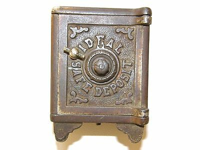 "Antique Cast Iron ""ideal Safe Deposit"" Still Combination Bank"