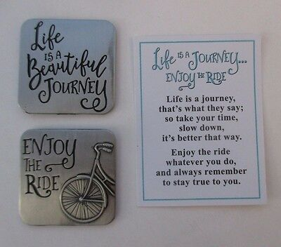 L LIFE IS A JOURNEY Enjoy the ride POCKET TOKEN CHARM bicycle cyclist bike Ganz