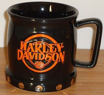 "HARLEY DAVIDSON USA Black Orange 3D ceramic coffee MUG 4""H 2002"
