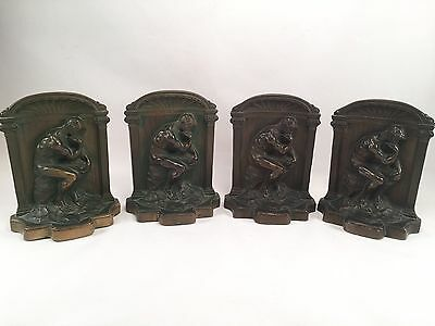 Rodin Bronze The Thinker Bookends Set Of 4-Solid Bronze Vintage Library Bookends