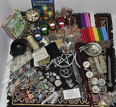 Wicca Lot Herbs Crystals Wand Tools Goblet Athame Tarot Runes Smudge Sage Candle